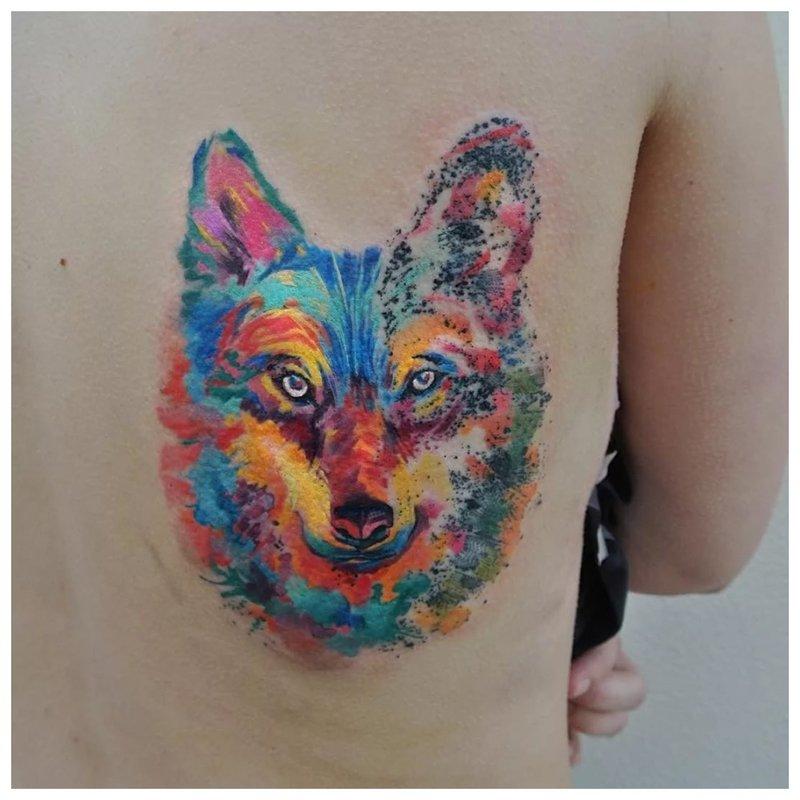 Aquarel Wolf Tattoo