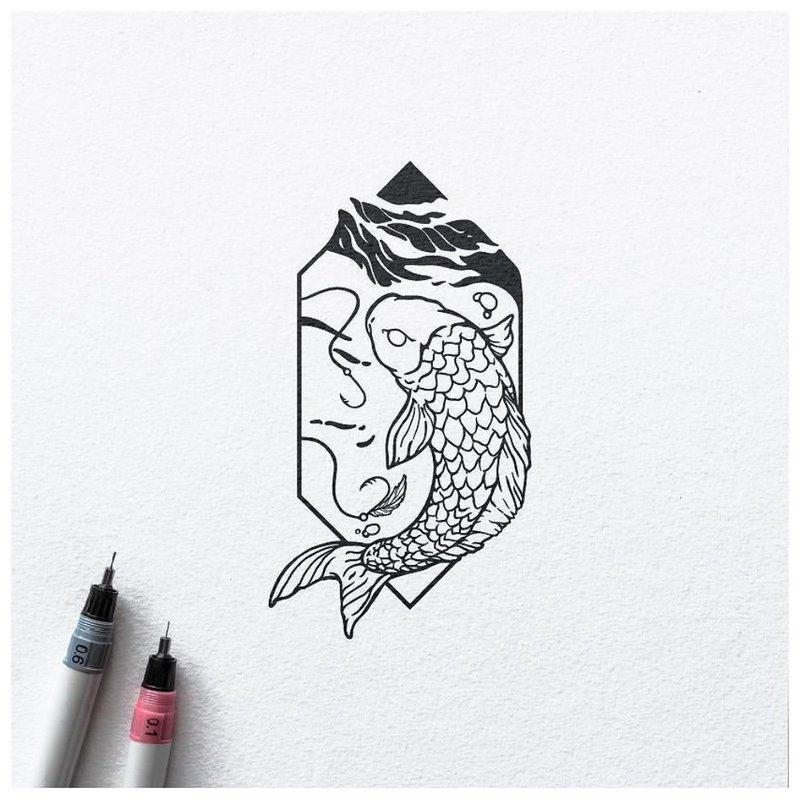 Minimalistinis tatuiruotės eskizas