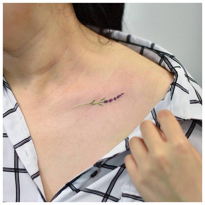 Švelnios šakelės - raktikaulio tatuiruotė