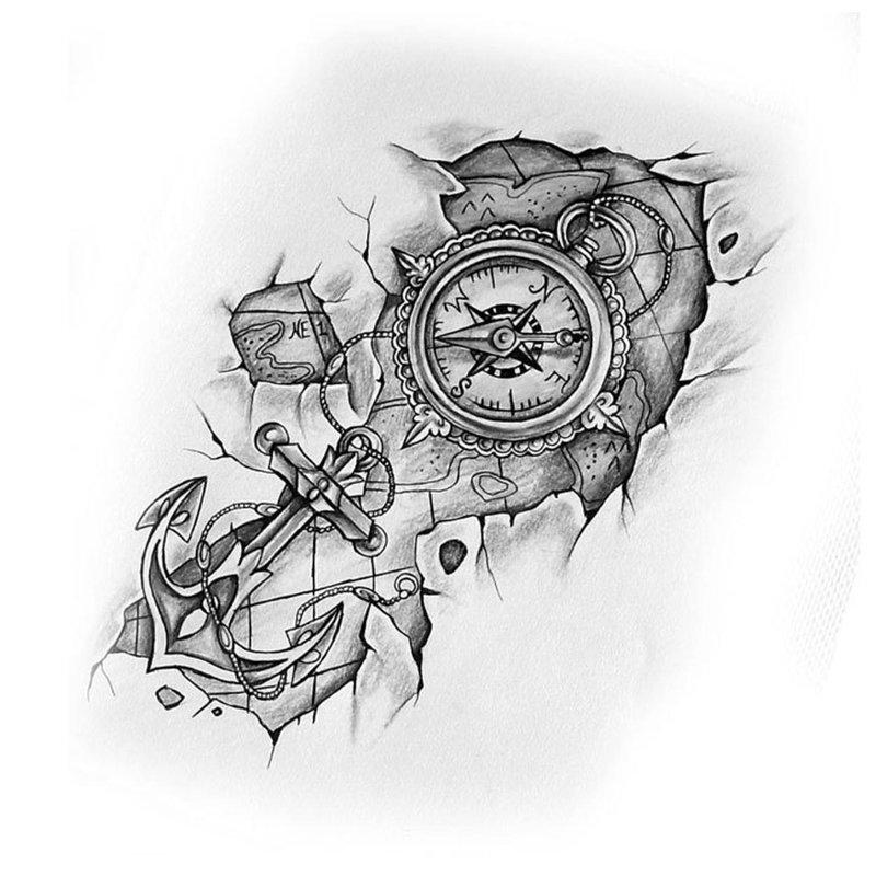 Tatuiruotės eskizas su laikrodžiu ir inkaru