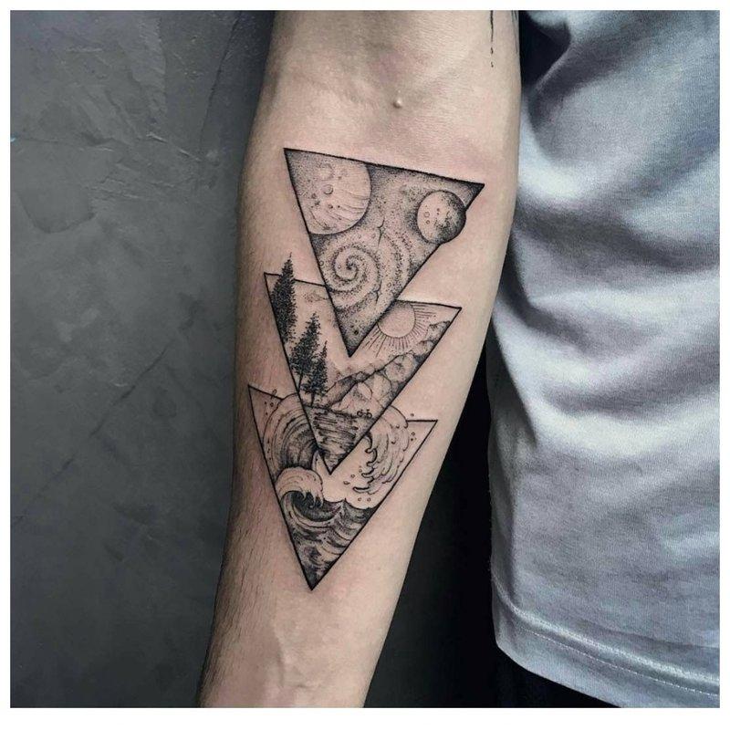Simbolinė tatuiruotė ant vyro rankos