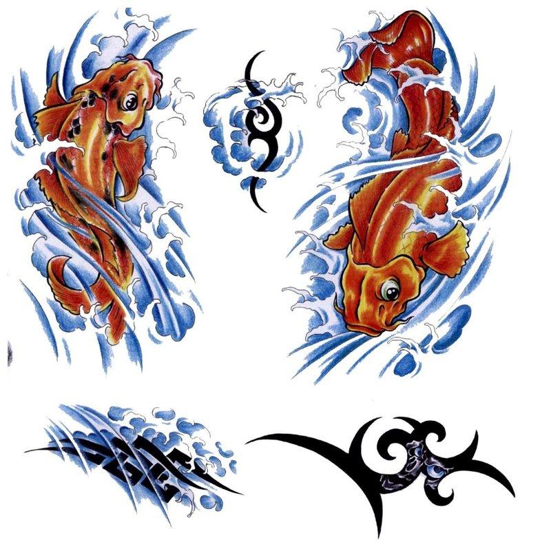 Spalvotų tatuiruočių su žuvimi eskizai