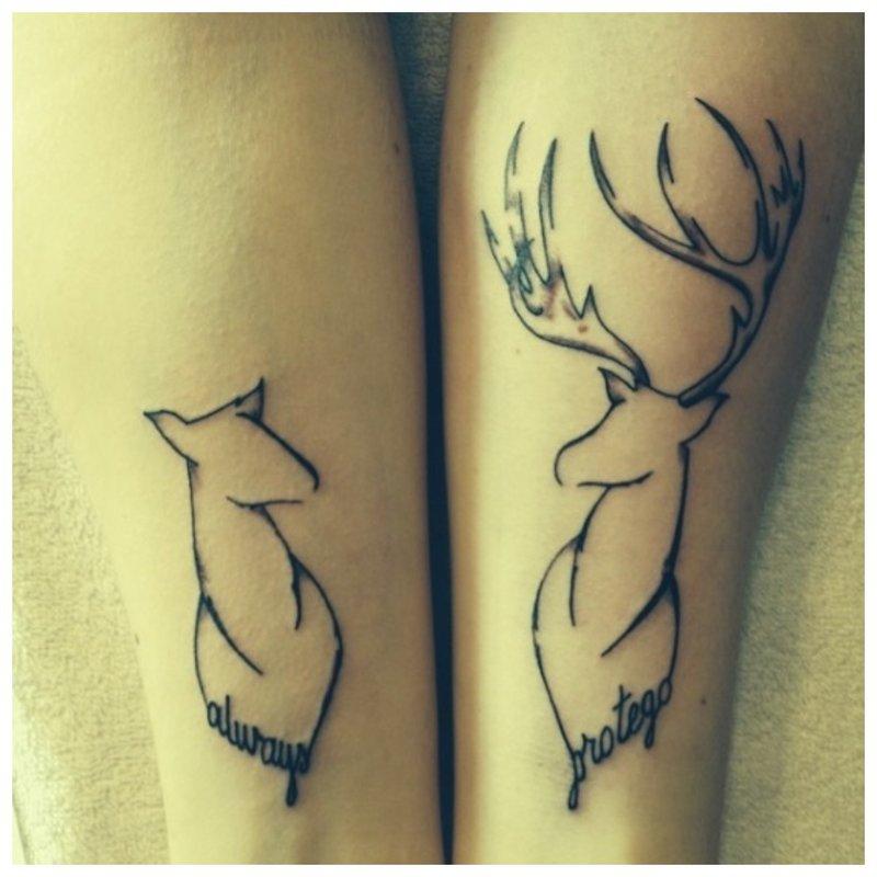 Gyvūnų tatuiruotė porai