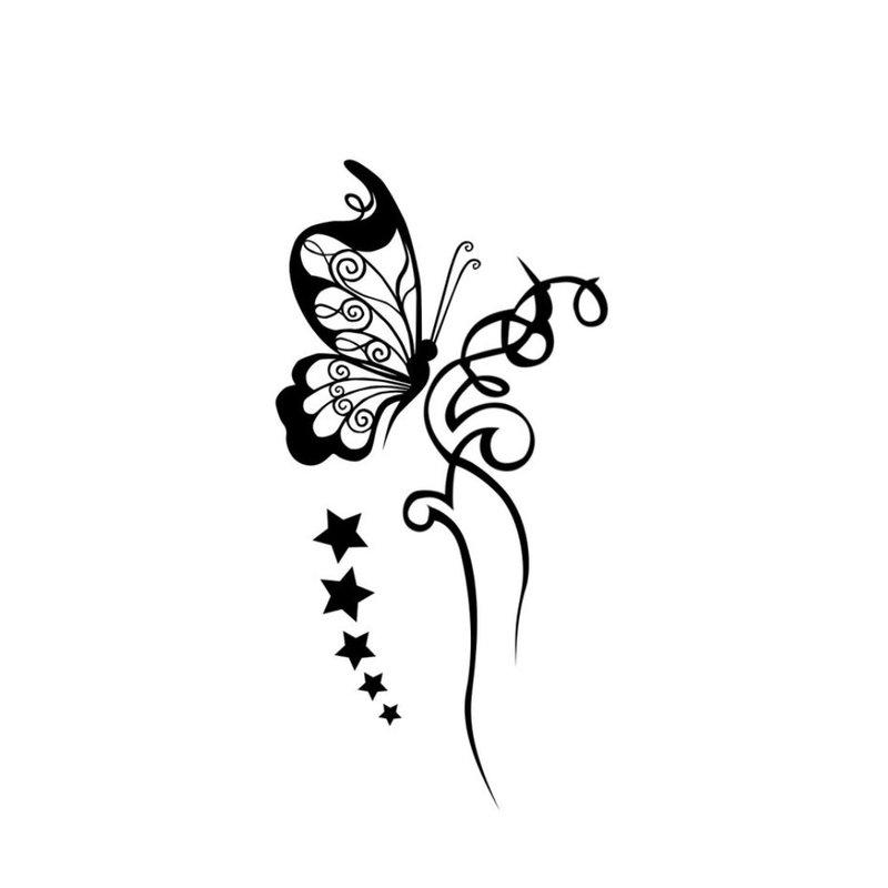 Drugelio ir gėlių tatuiruotės eskizas