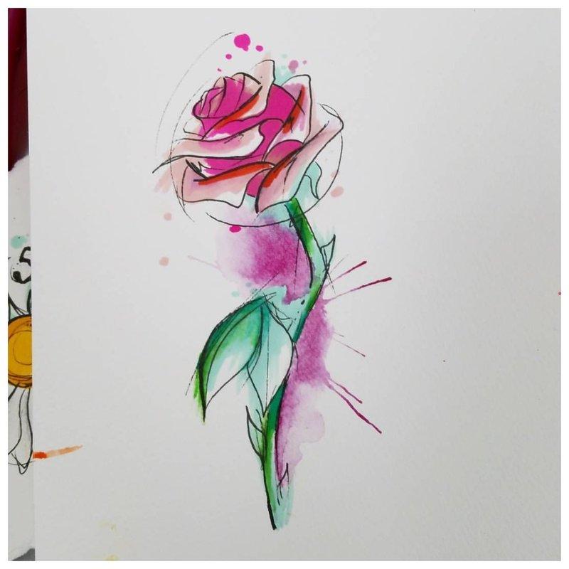 Tatuiruotės akvarelės rožių eskizas.