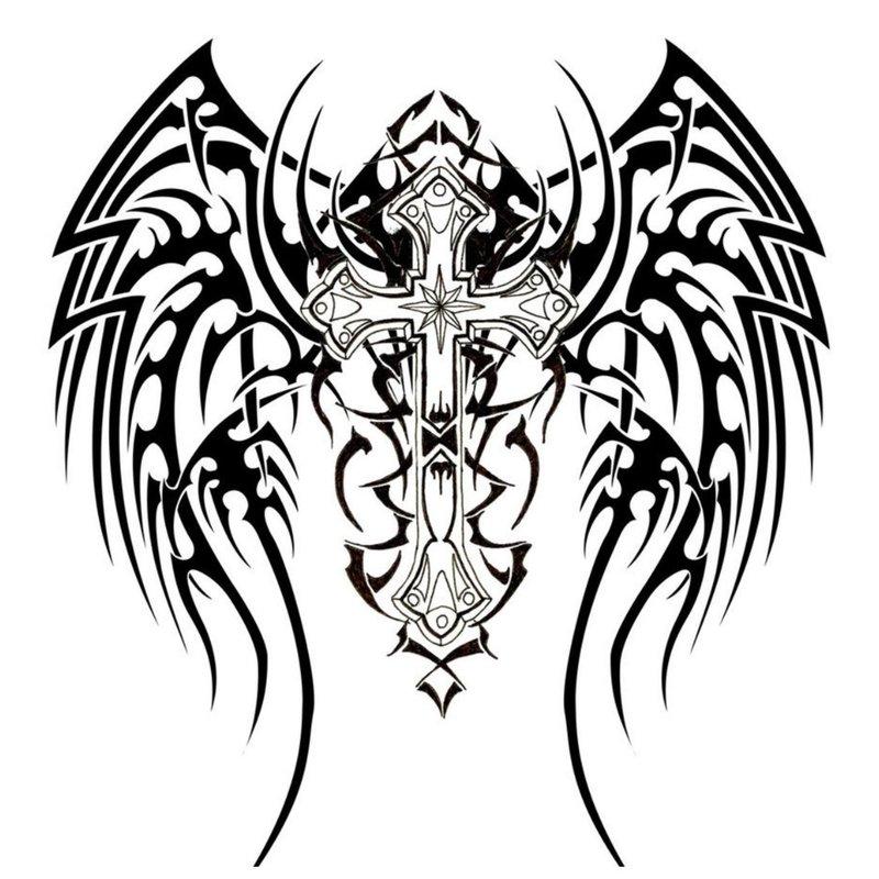 Tatuiruotės su sparnais eskizas.
