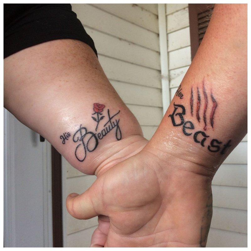Gražios dvigubos tatuiruotės mėgėjams: 100 idėjų