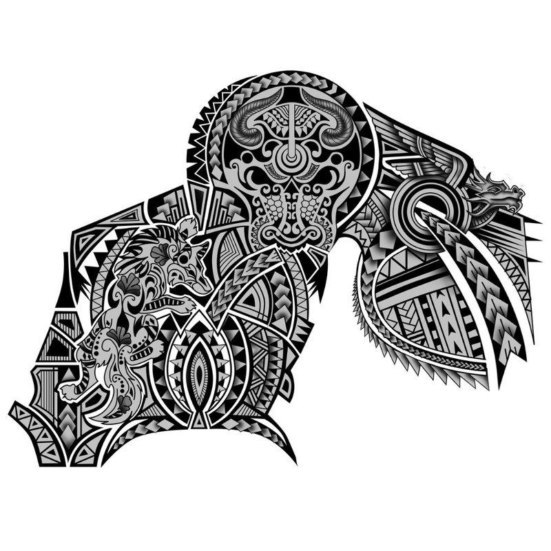 """Blackwork"" tatuiruotės eskizas"