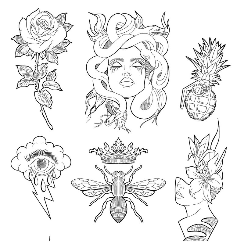 Minimalizmo tatuiruotės eskizas