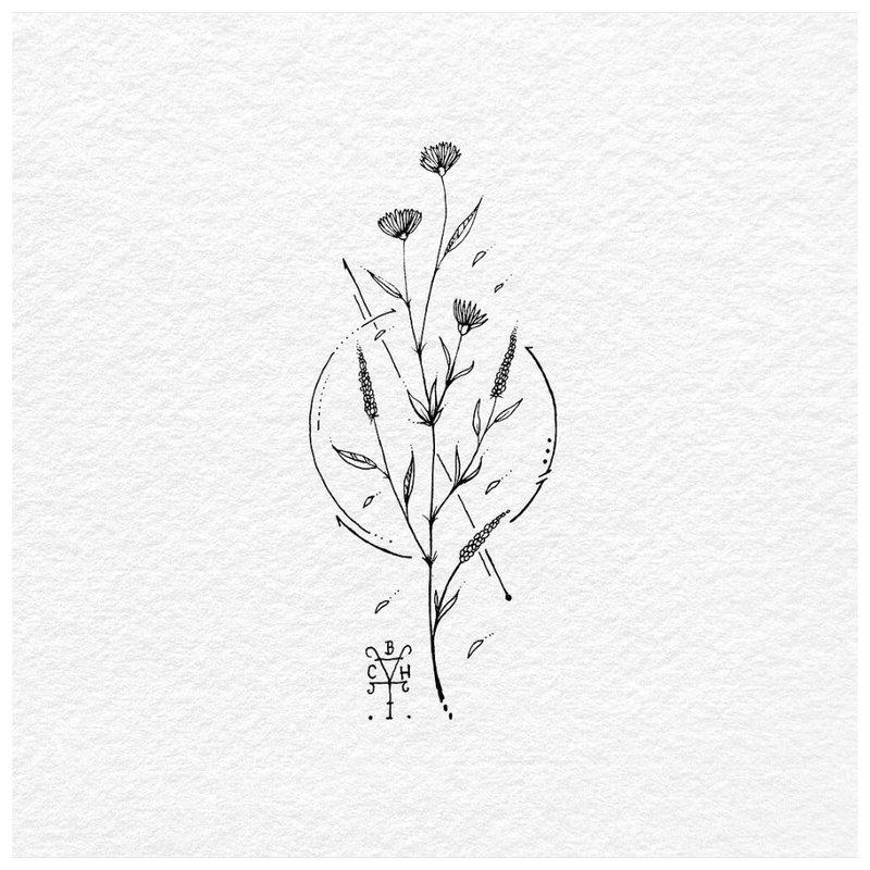 Minimalizmo gėlių tatuiruotės eskizas