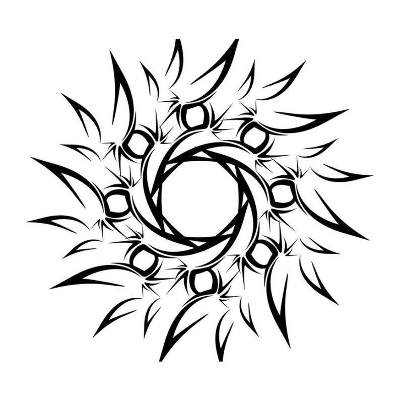 Tatuiruotės eskizas - abstrakti saulė