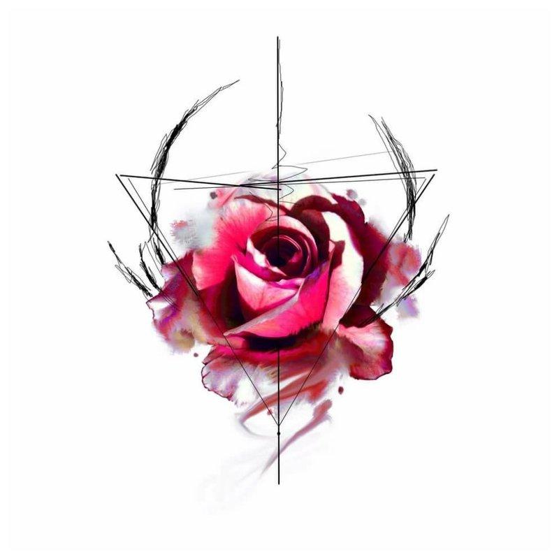 Tatuiruotės eskizas akvarelei - rožė