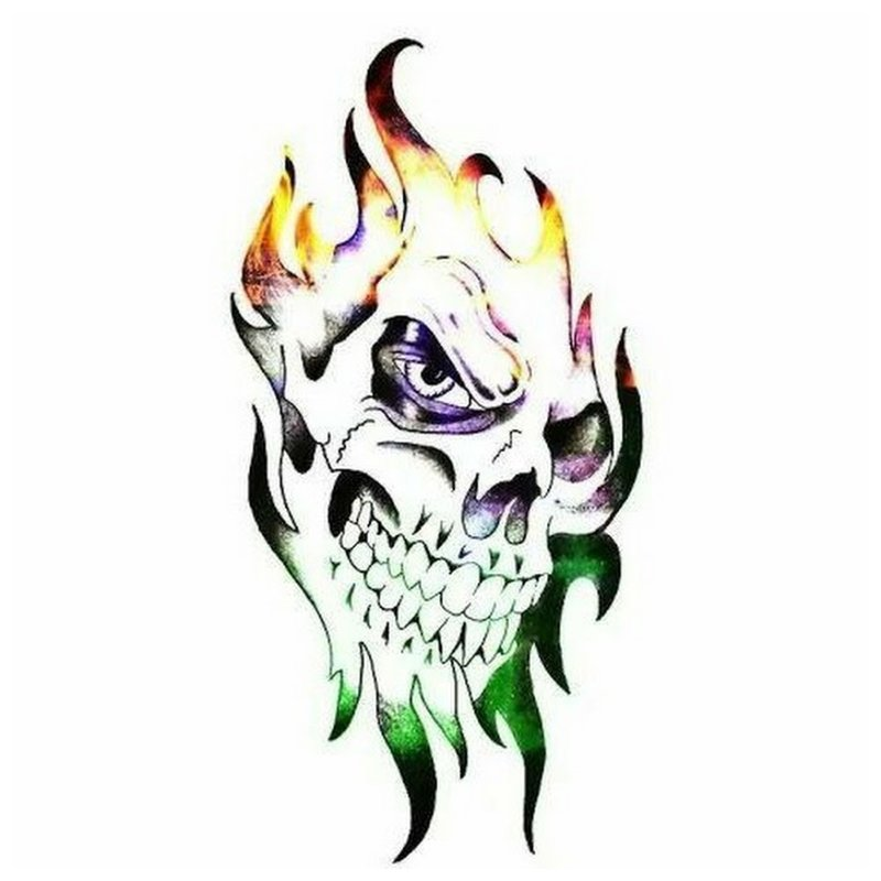 Kleurrijke schedel - schets voor tattoo