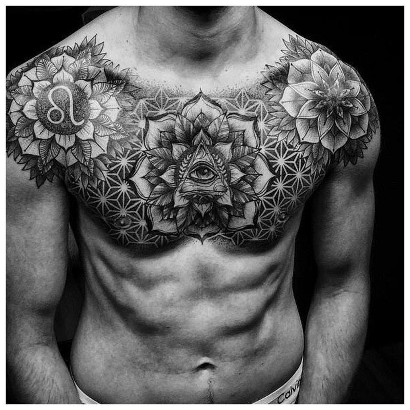 Tatoeage in Dotovik-stijl op een man op een borstbeen