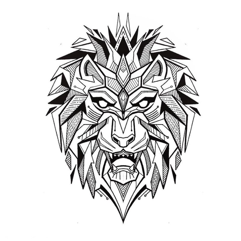 Woeste leeuw - tattoo schets