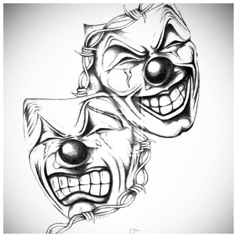 Maskers - schets voor tattoo