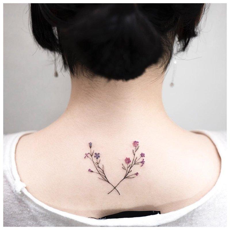Tatuiruotė su dviem spalvotomis šakomis
