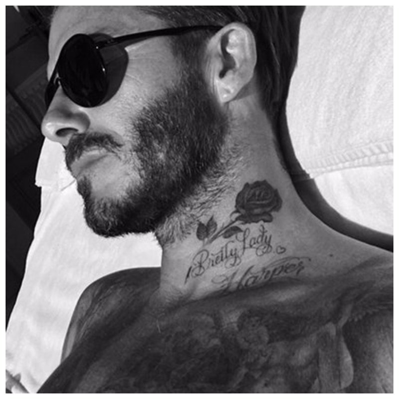 David Beckham tatouage au cou