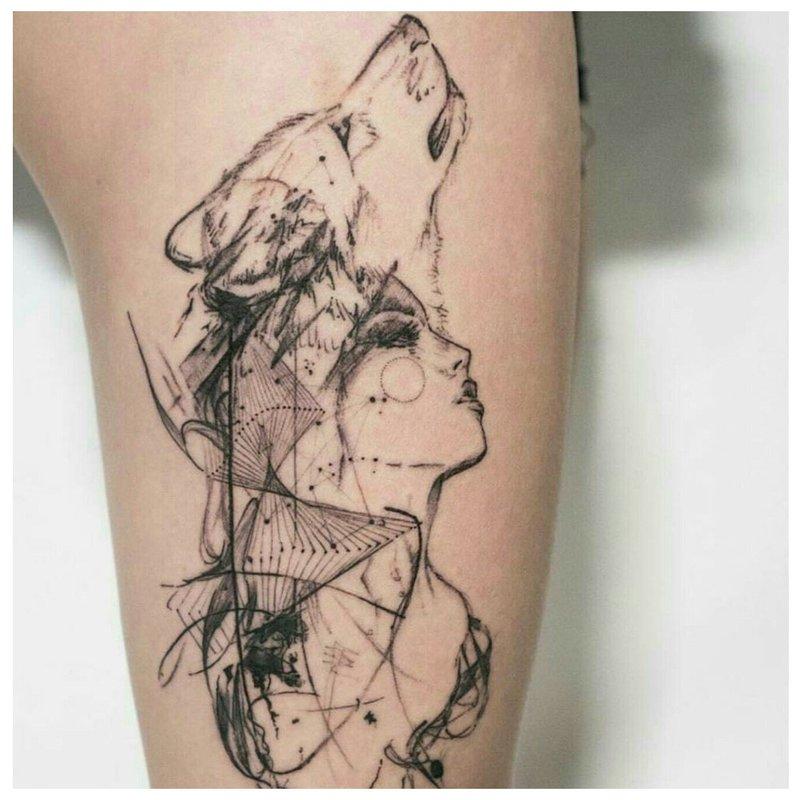 Tatuiruočių mergaitė su vilku