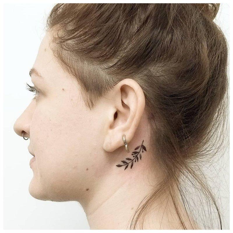 Tatuiruotės šakelė ant žvaigždžių kaklo