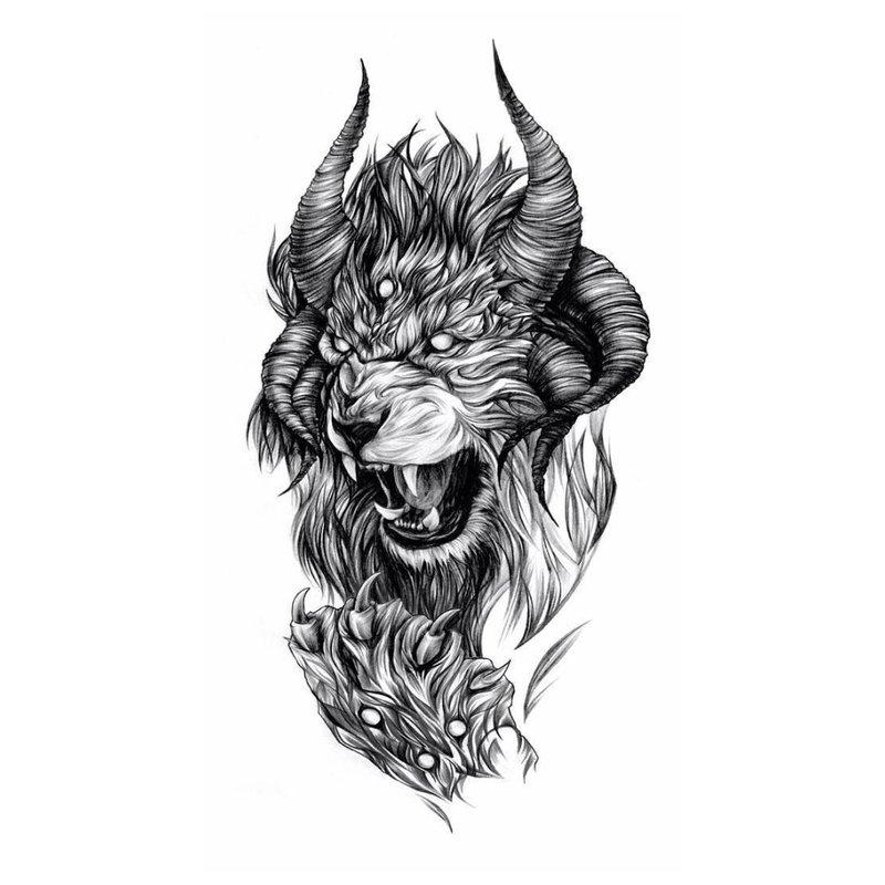 Grijns van een leeuw - schets voor tattoo